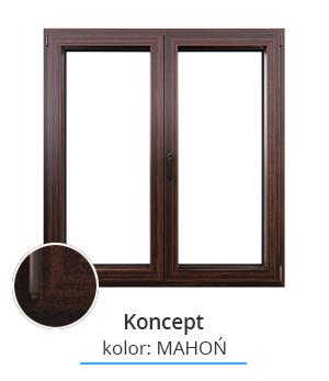 Okno Koncept, kolor: mahoń