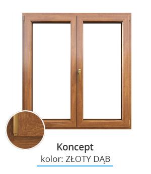 Okno Koncept, kolor: złoty dąb