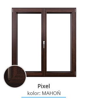 Okno Pixel, kolor: mahoń