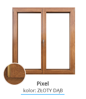 Okno Pixel, kolor: złoty dąb