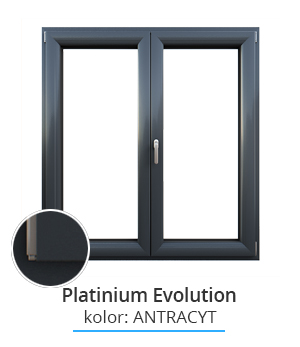 Okno Platinium Evolution, kolor: antracyt