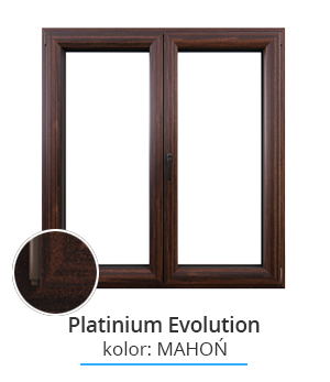 Okno Platinium Evolution, kolor: mahoń