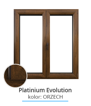 Okno Platinium Evolution, kolor: orzech
