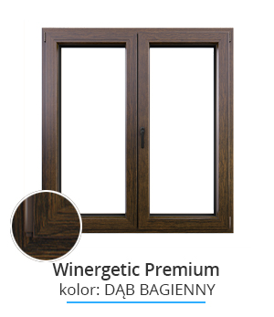 Okno Winergetic Premium Passive, kolor: dąb bagienny